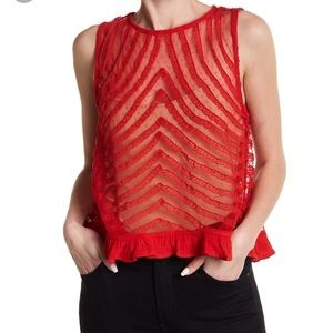 Free People She A Doll Lace Sleeveless Crop Top